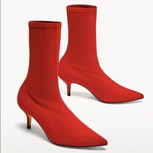 Zara Red Sock Style Boots